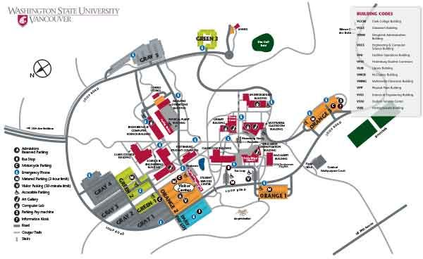 Washington State University Campus Map wsu vancouver map | Campus map, directions and parking information