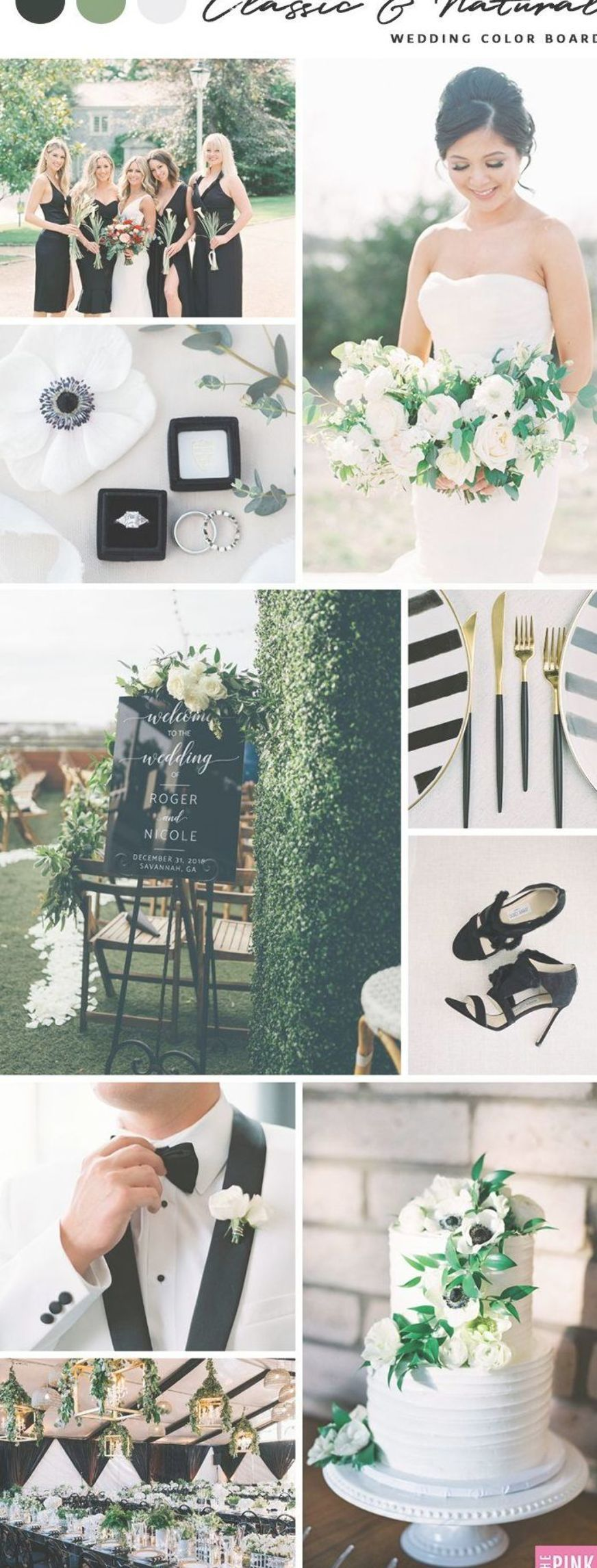 Classic & Natural Wedding Color Board Inspiration   Black, White, Olive Green Wedding Colors   The Pink Bride®️️️️️️️