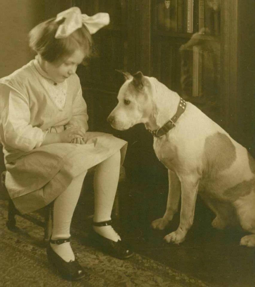 1918 A Girl And Her Dog A Girl And Her Pitbull Aka The Nanny Dog