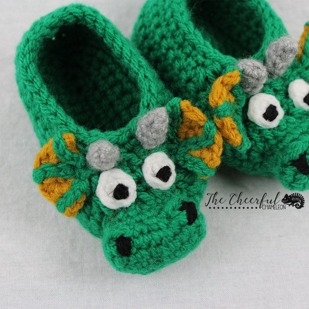 Dragon Crochet Pattern Childrens Dragon Slipper Pattern Crochet