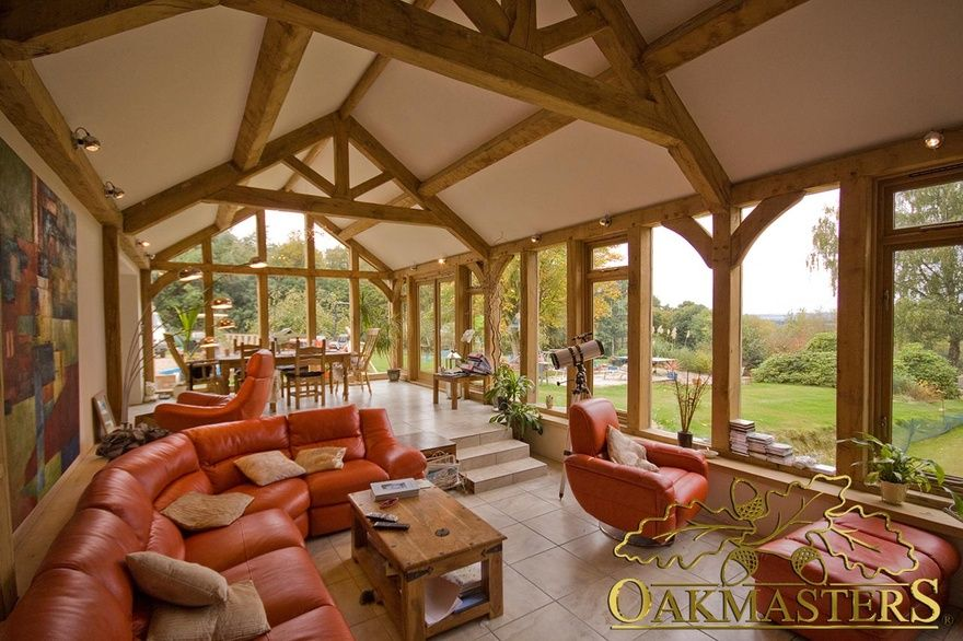 Stunning multilevel garden room with framed oak roof in Kent - Oakmasters