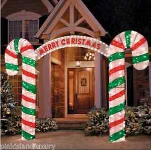 Lighted Candy Cane Decorations Xlarge 10Ft Lighted Candy Cane Arch Light Stake Christmas Holiday