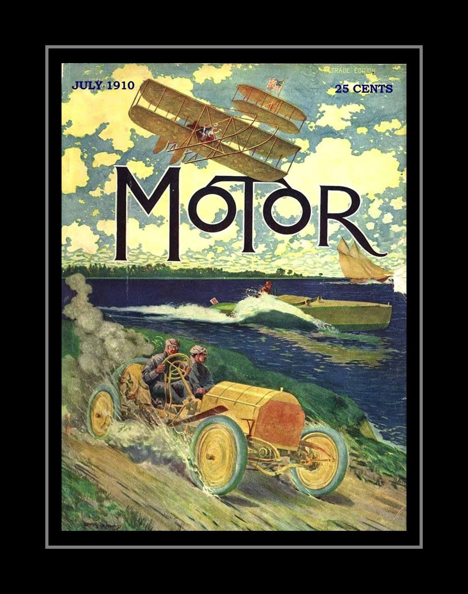 Vintage s motor mag poster gift retro travel illustration wall