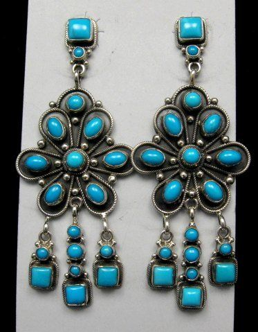 A Navajo Eleanor Largo Turquoise Silver Dangle Earrings Vintage C
