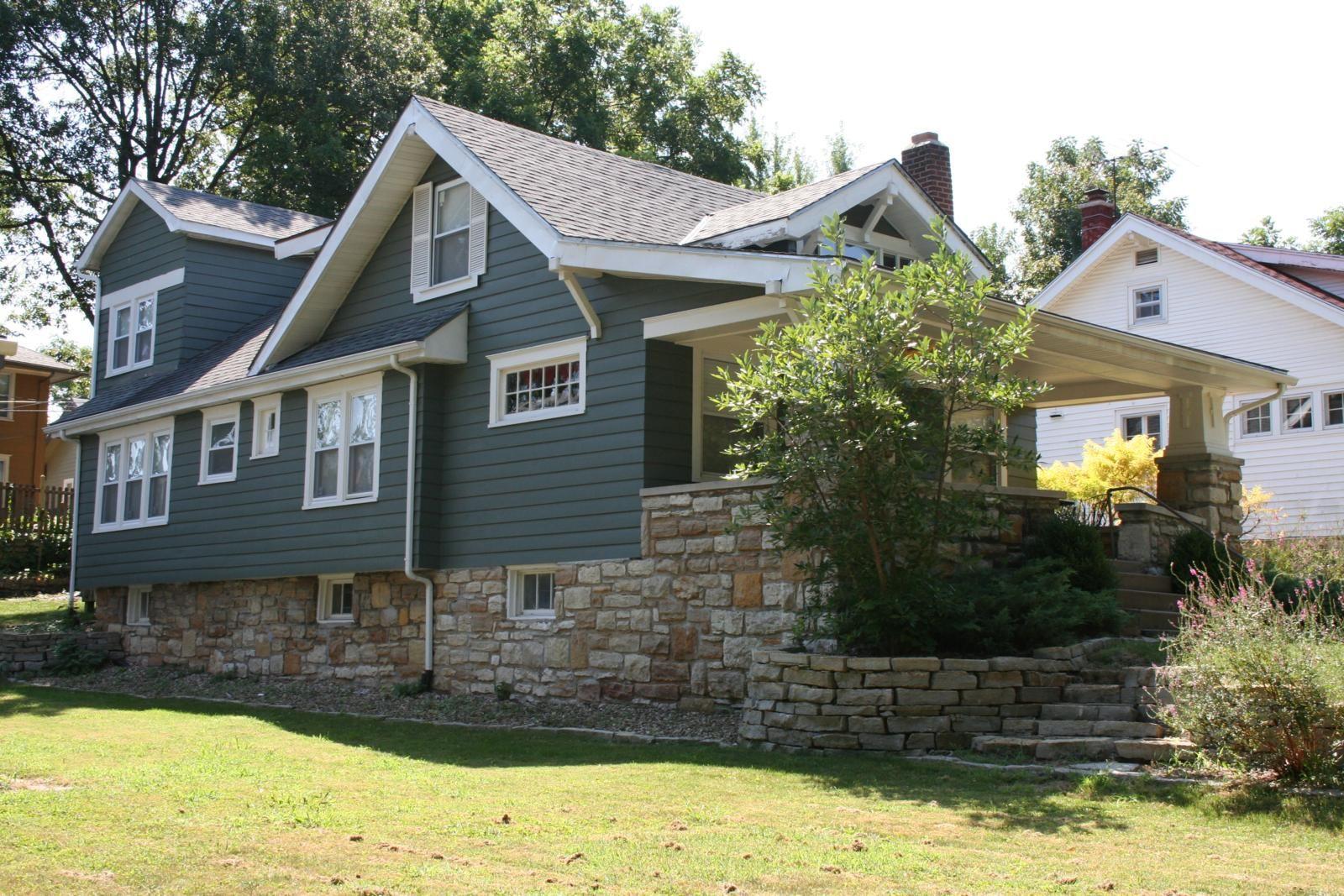 Wood Siding And Brick Exterior Blue Gray Paint With White Trim House Exterior House Exterior Blue Wood Siding House