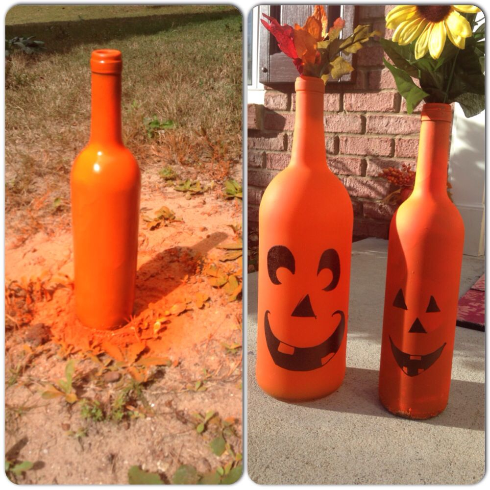 Wine Bottle Jack O Lanterns Spray Paint Old Wine Bottles Draw A Face With A Sharpie Perfect For Cute Fall Decor Diy Halloween Crafts Fall Decor Old Wine Bottles