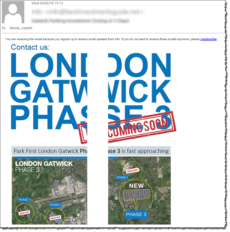 Uhm, a mock-up of where an additional runway could go at Gatwick, or a lack of email testing?! What do you think, @emailonacid  #emailmarketing