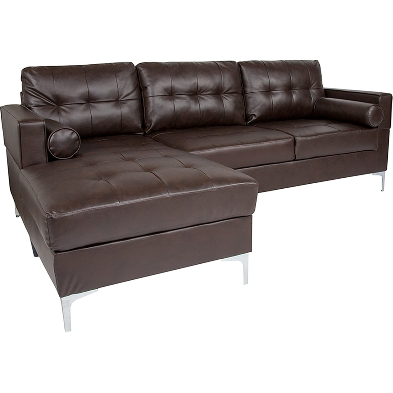Bellmore 2 Piece Brown Leather Sectional Sofa With Left Facing Chaise Leather Sectional Sofas Leather Sectional Sectional Sofa