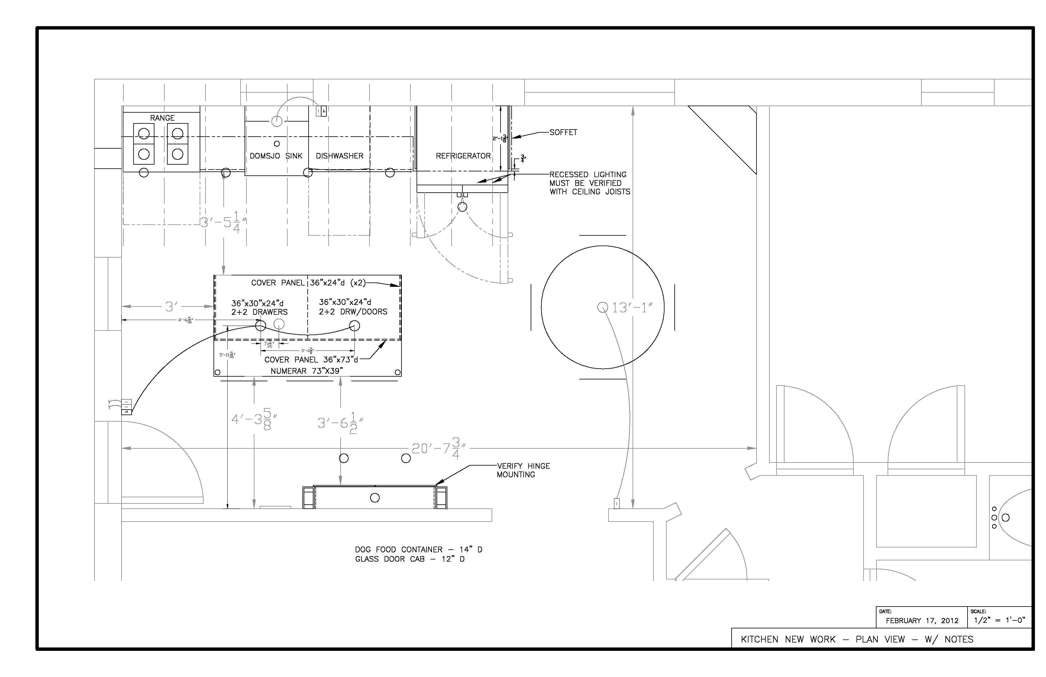 Kitchen Plan View - Current working drawing w/ electrical