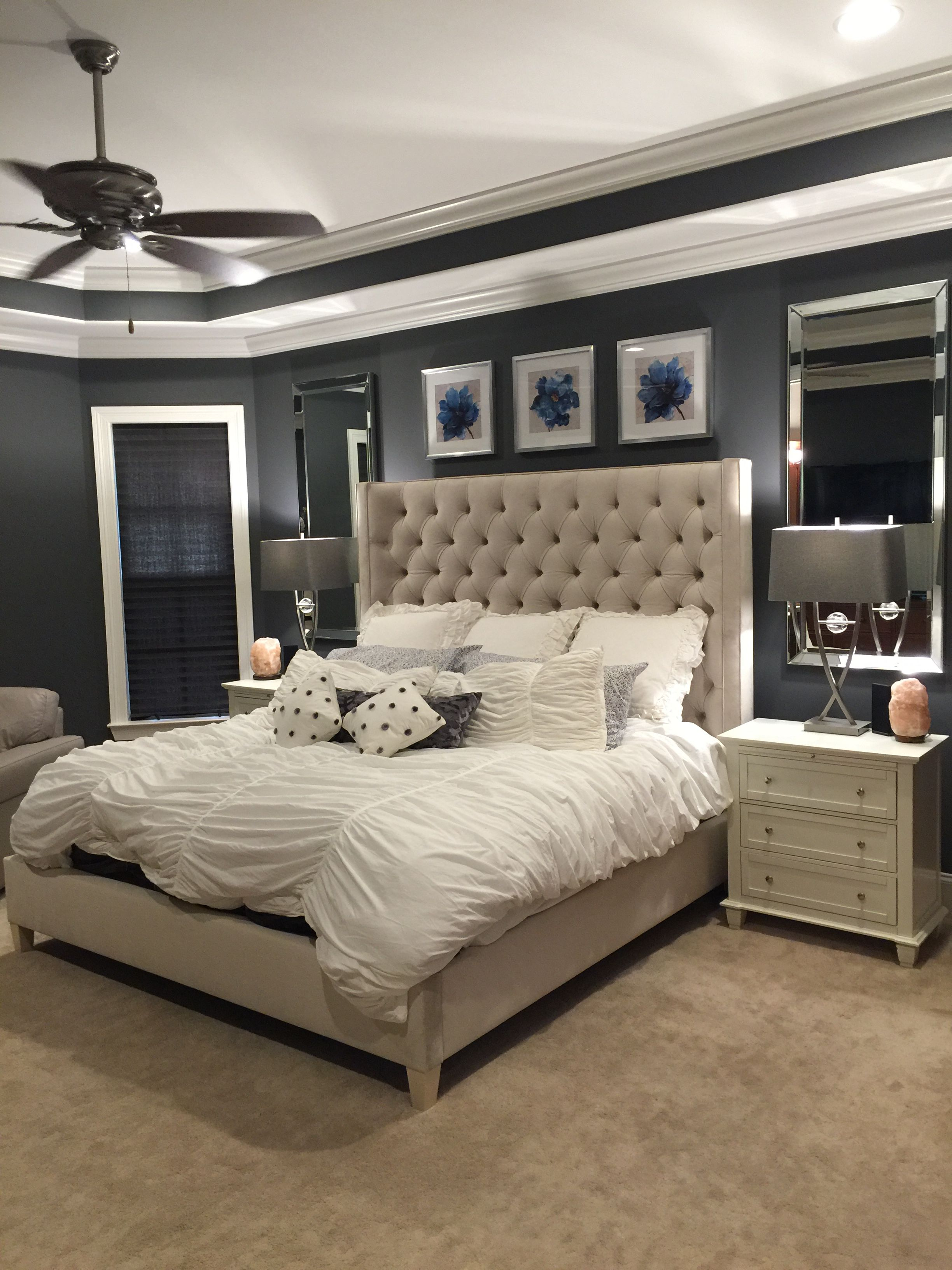 Serene Bedroom Bed By Bernhardt Lamps Pacific Coast Pictures Mirrors Homegoods Night Tables Rue La Paint Peppercorn Sherwin Williams