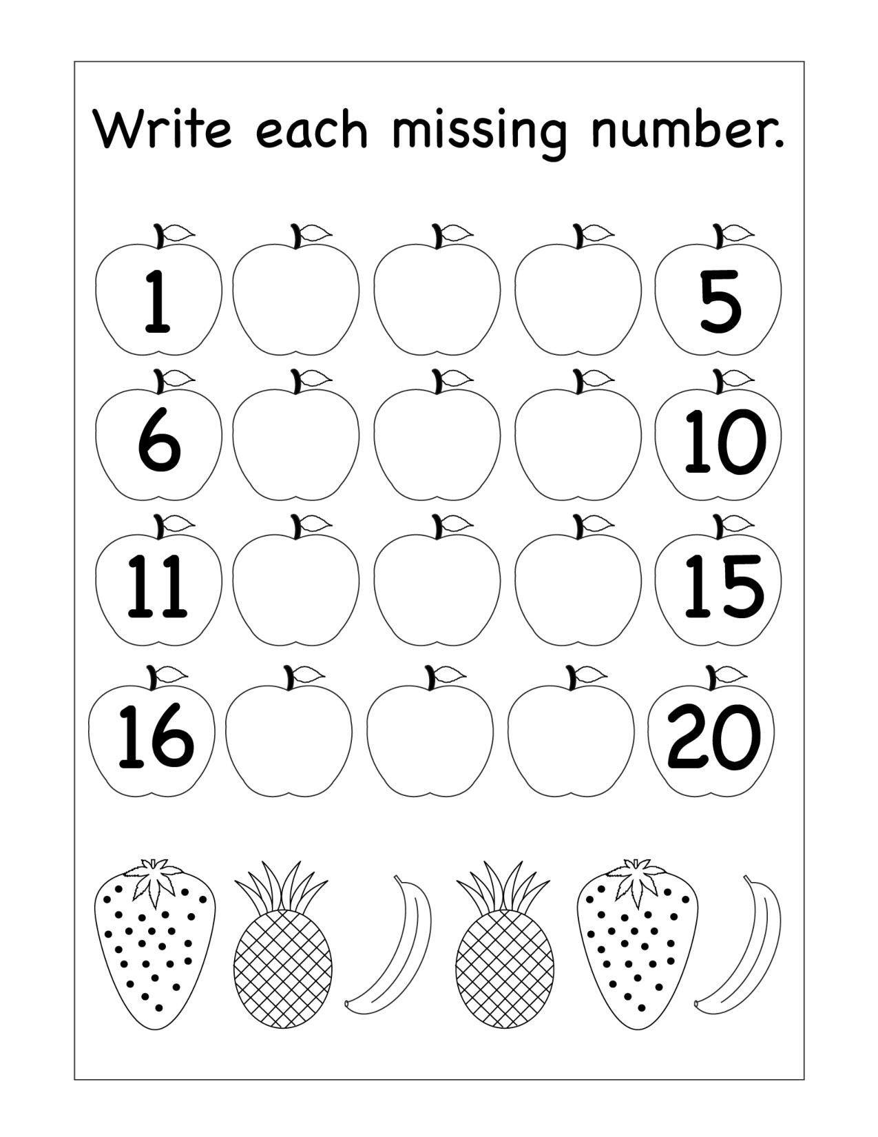 Missing Number Worksheet Kindergarten Missing Numbers