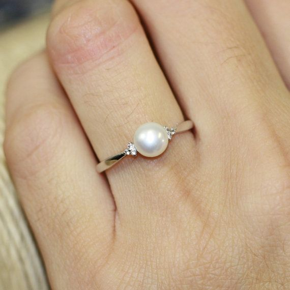 Single Pearl Ring in 10k White Gold Pearl Engagement Ring ...