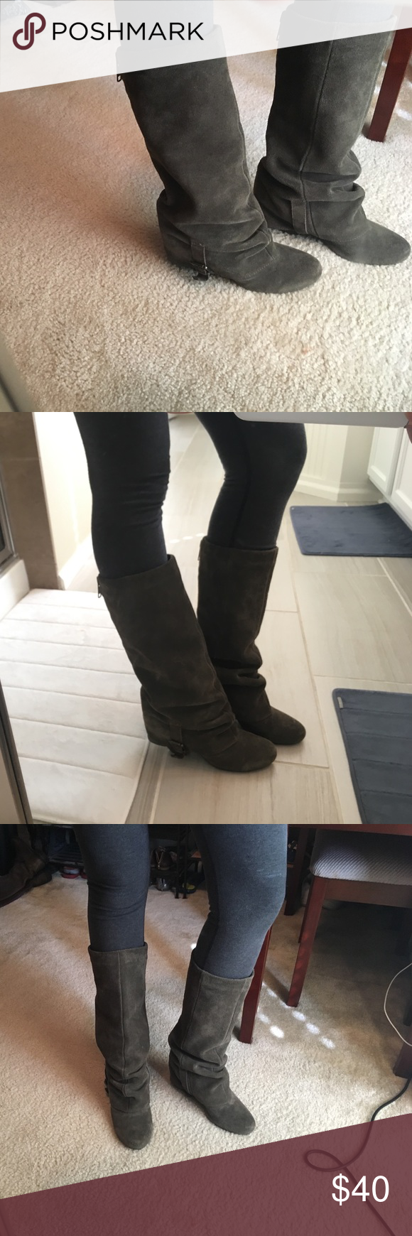 """🛍💥NEW💥🛍suede scruntchy/slouchy boots Real suede, like a brown/grey color, great condition, facade zipper down the back of the boot, 3"""" heel, non slippery, boots only no box. Don't wanna pay shipping for just one item? I don't blame you! Bundle and save AND receive a 🆓🎁 NO trades. NO Pay Pal. naughty monkey Shoes Heeled Boots"""