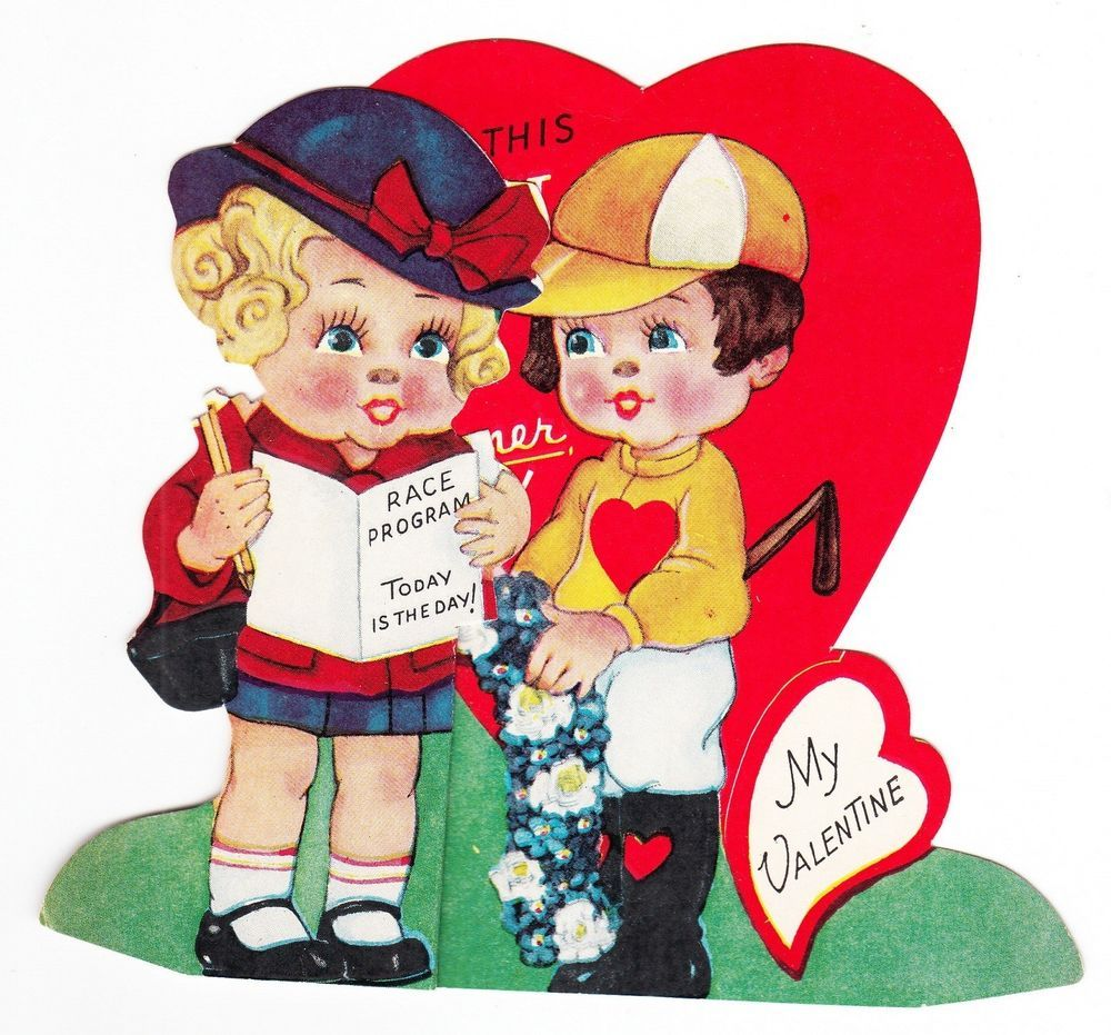 Vintage Girl With Jockey Fold Out Valentine Greeting Card Vintage