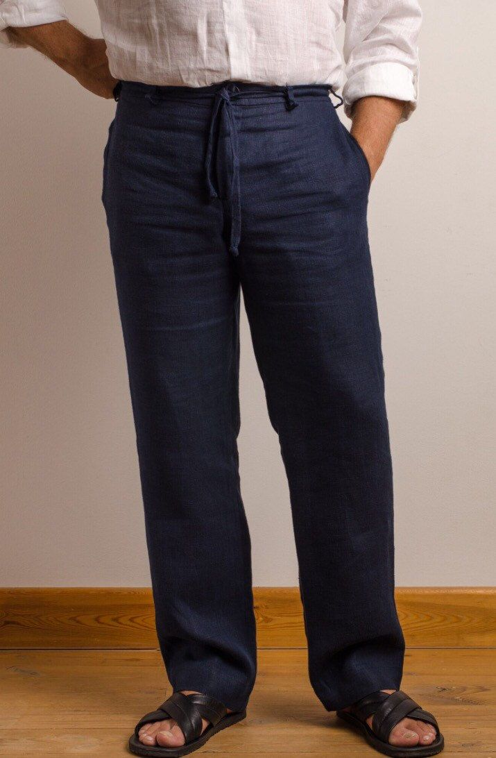 Linen pants for men - navy, white, grey, blue, green, coffee milk colors
