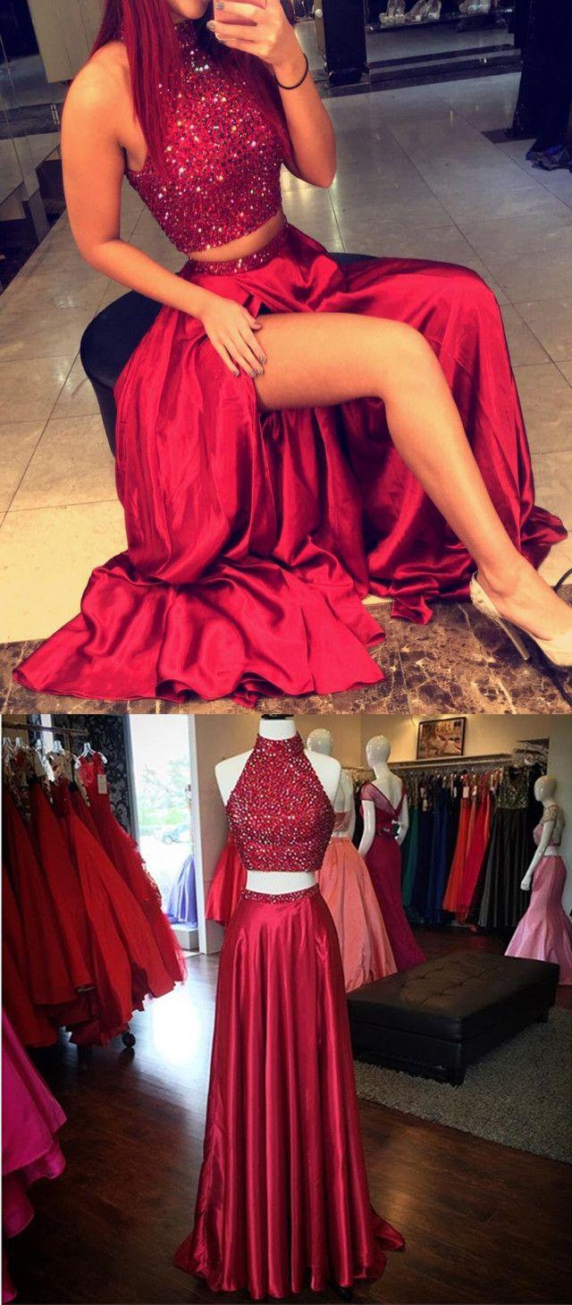Dark redburgundy long twopieces homecoming dressevening dress