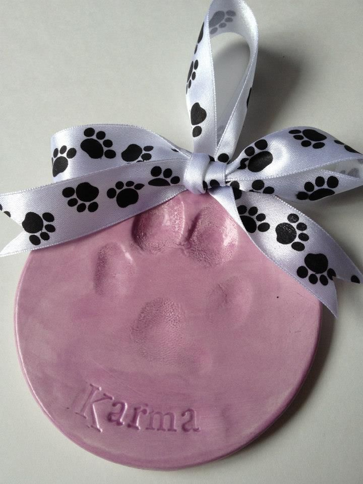 Memories in Clay Ceramic Dog Paw Print Ornament #dogs #gifts