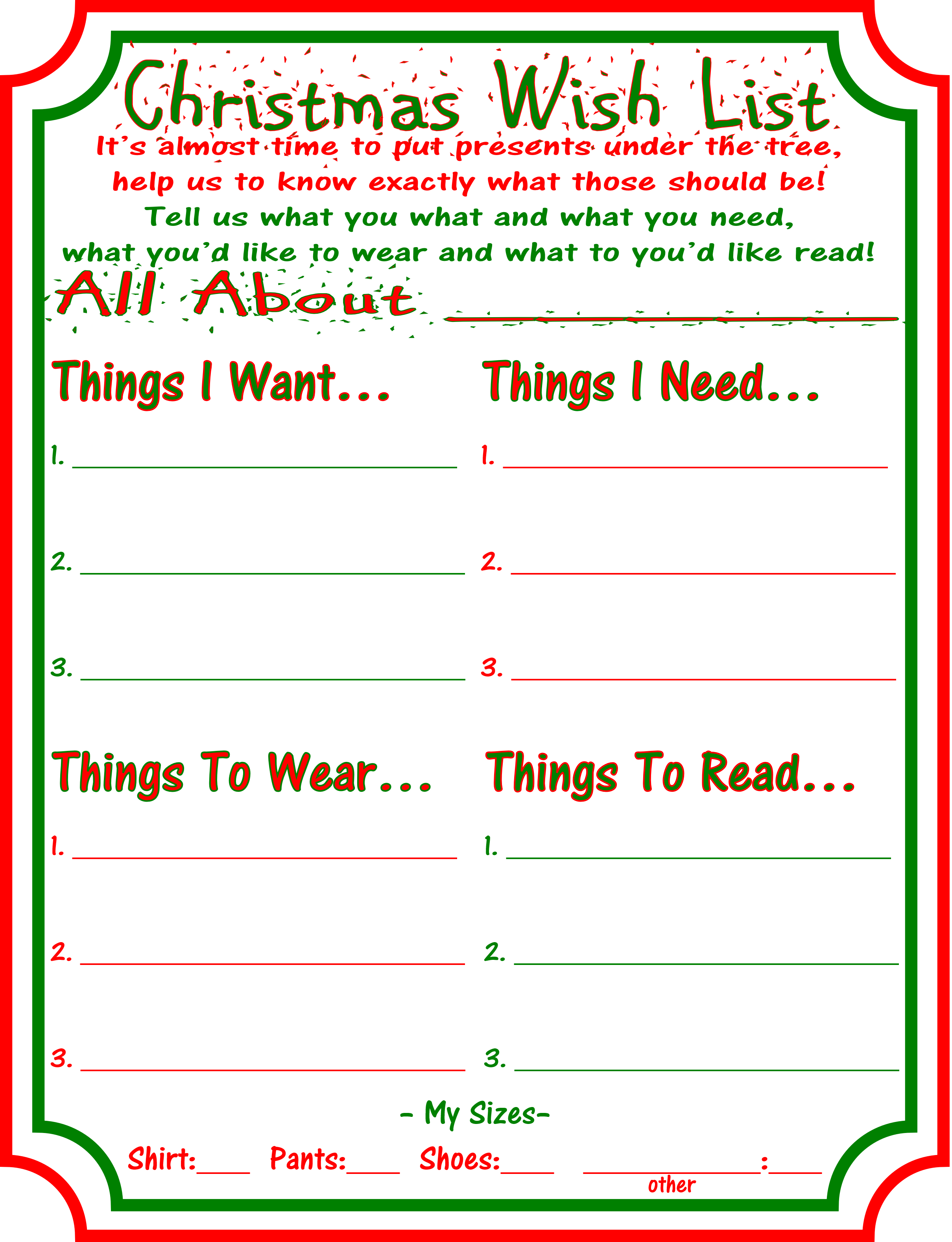 Christmas Wish List Worksheet