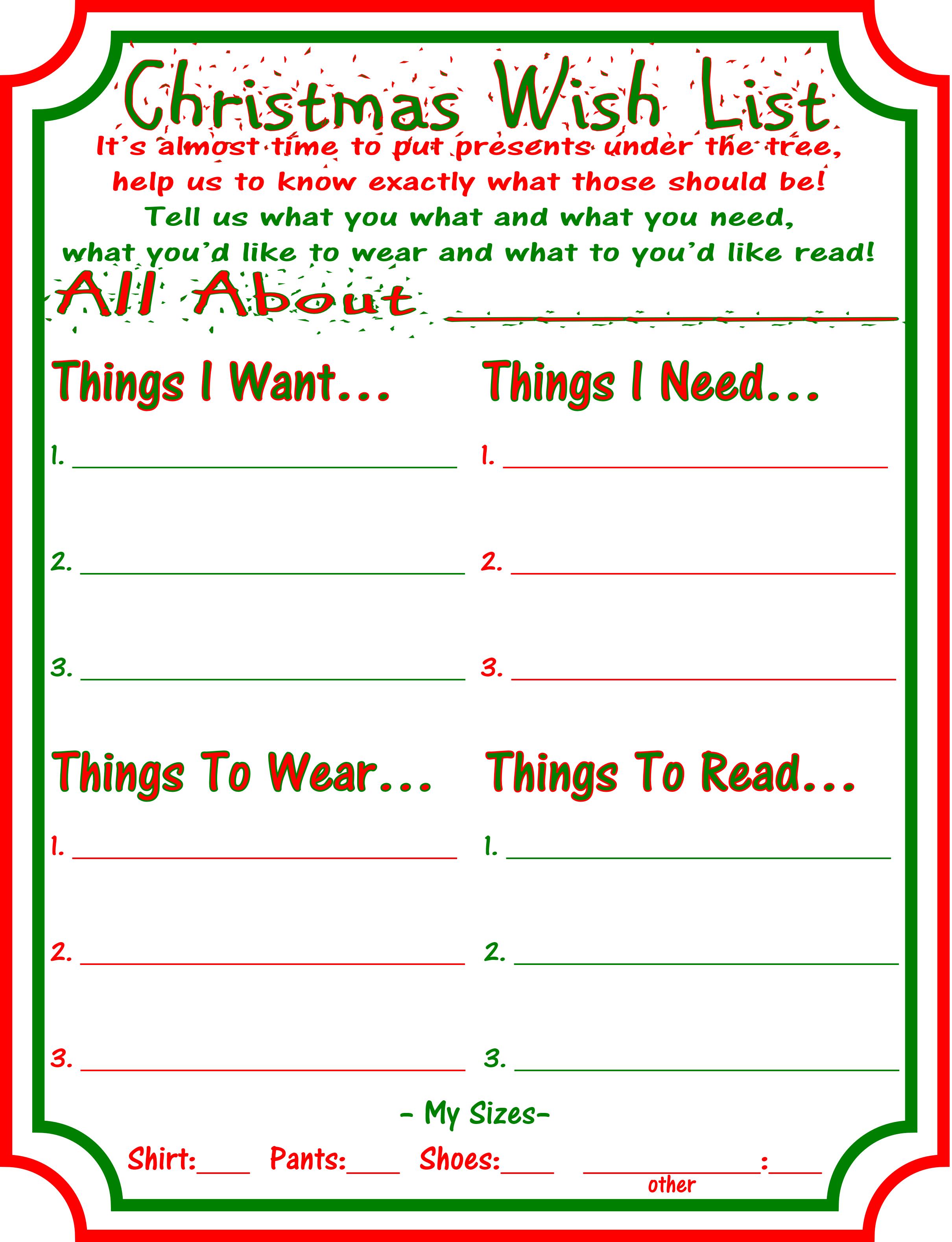Want Need Wear Read Christmas Wish Lists