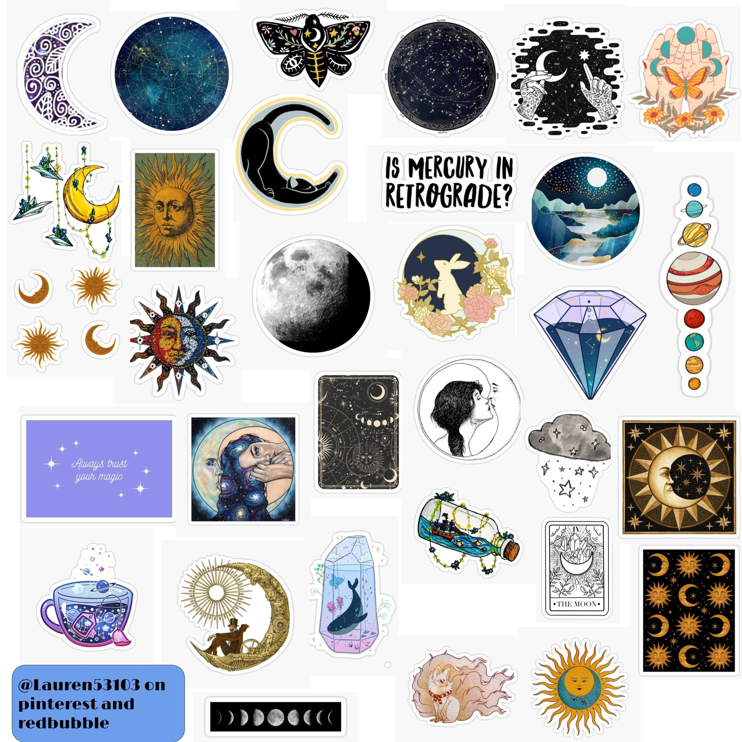 Celestial Sticker Pack Sticker By Lauren53103 In 2020 Print Stickers Pop Stickers Printable Stickers