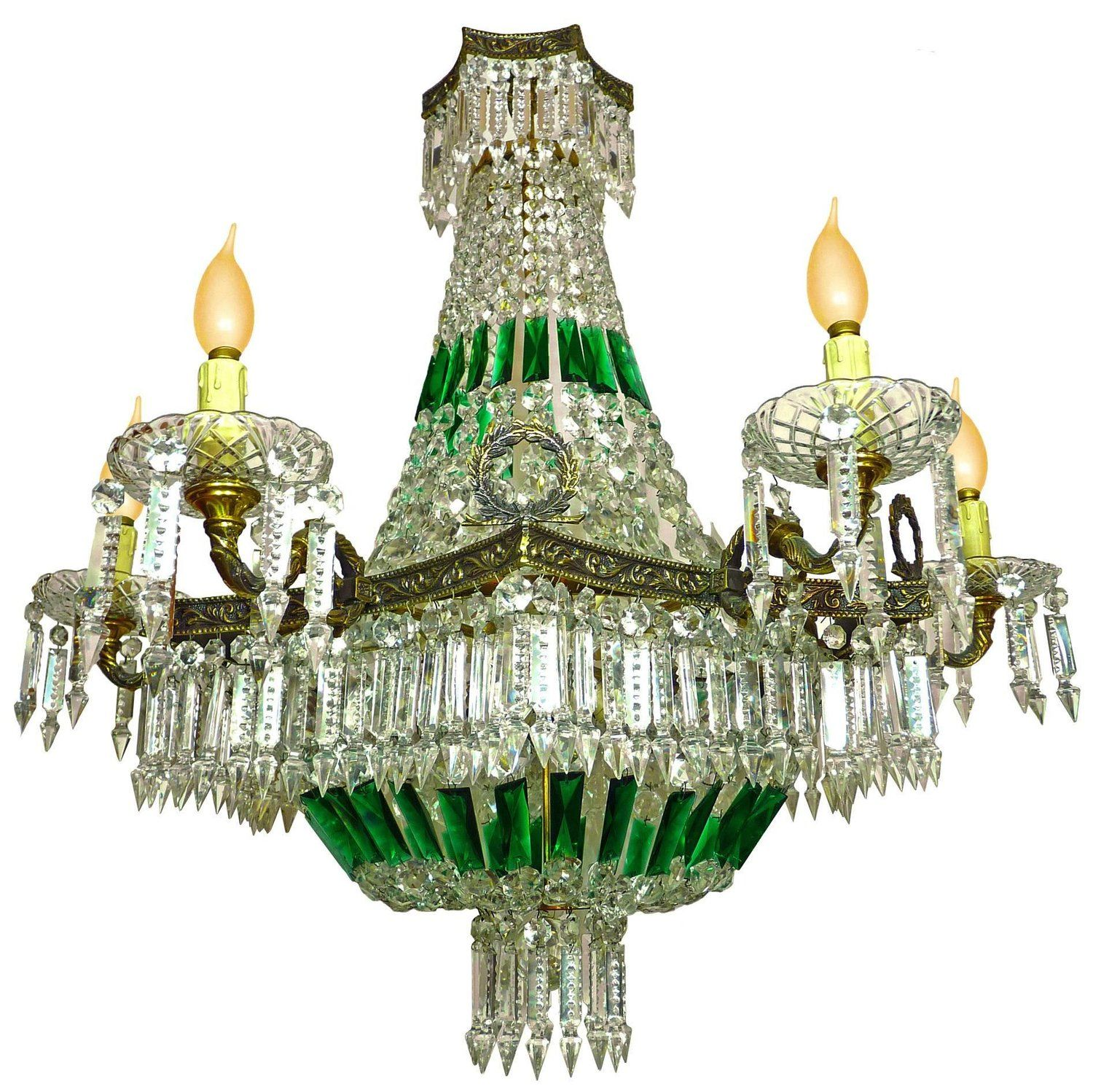 Impressive french empire green crystal basket and bronze chandelier impressive french empire green crystal basket and bronze chandelier 15 light arubaitofo Image collections
