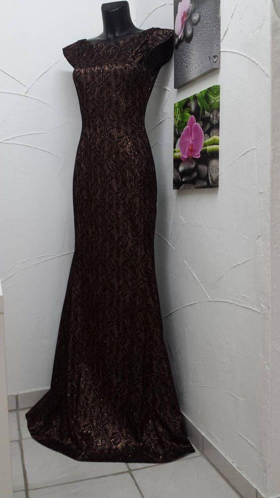 Abendkleid lang Stil Mermaid satin Spitze   Kleid mit ...