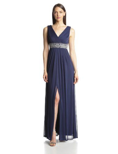 JS Boutique Women\'s Draped Jersey Gown with Beaded Waist | Boutique ...