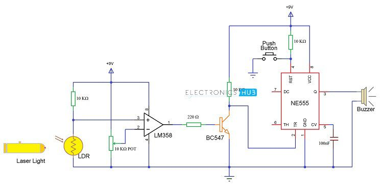 laser security system circuit diagram