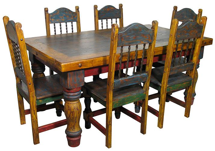 Mexican Country Style Painted Dining Table And Chairs