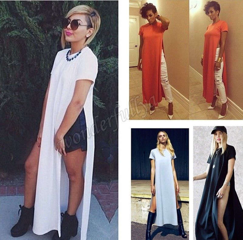 09bb70629 Women Sexy Casual Side High Slits Tee Long Top Maxi Dress T-shirt Tops  Blouse | Clothing, Shoes & Accessories, Women's Clothing, Dresses | eBay!