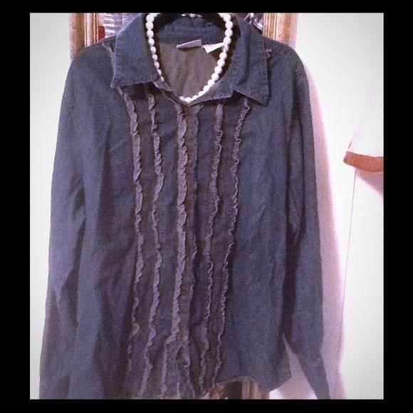 Soft Jean blouse with gold ruffle detail In excellent condition. No tears or marks. Ruffles in front have gold detail. Very soft thin fabric. 100% cotton. Size 1 x Thanks St. John's Bay Tops Blouses