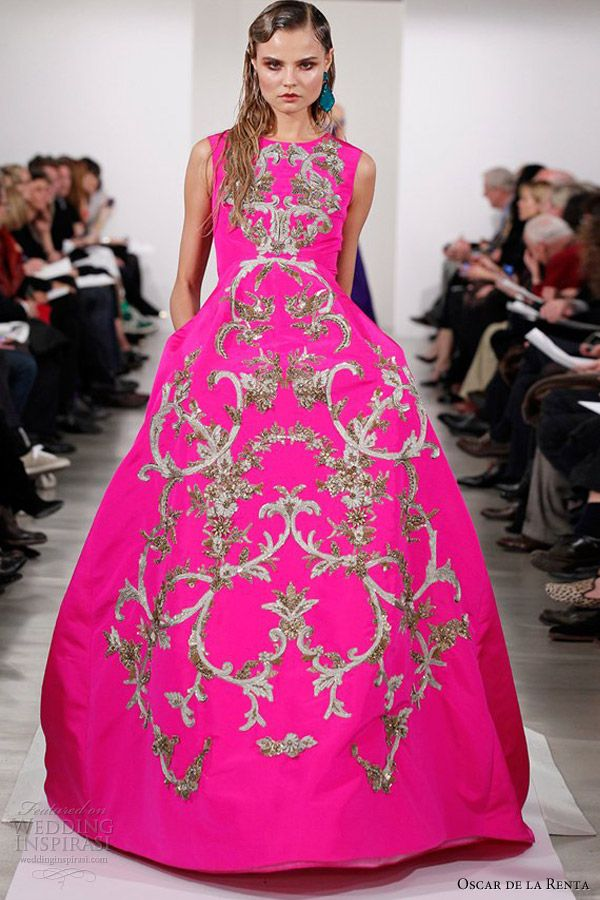 oscar de la renta spring 2013 rtw sleeveless scoop neck gown full skirt