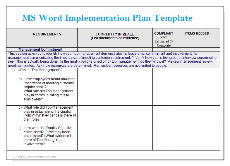 Project Implementation Plan Template in 2020