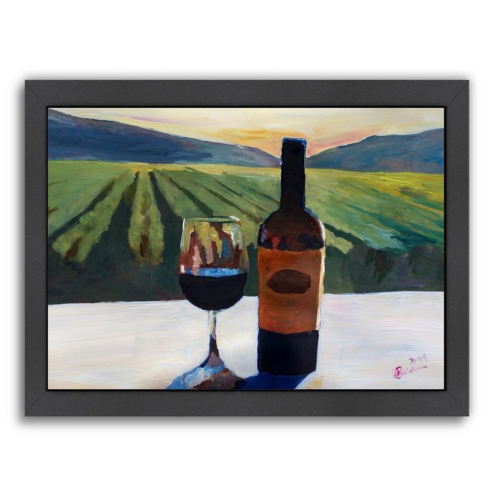 Americanflat ''Napa Valley Wine Bottle and Glass'' Framed Wall Art, Multicolor
