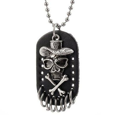 R&B Joyas - Collar hombre, cadena colgante placa militar, esqueleto rock punk gótico, cráneo y huesos, cuero y metal, color plateado / negro: Amazon.es: Joyería