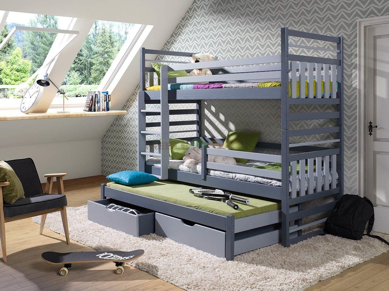 łóżko Piętrowe Hipolit 3 Osobowe Do Pokoju Młodzieżowego Z