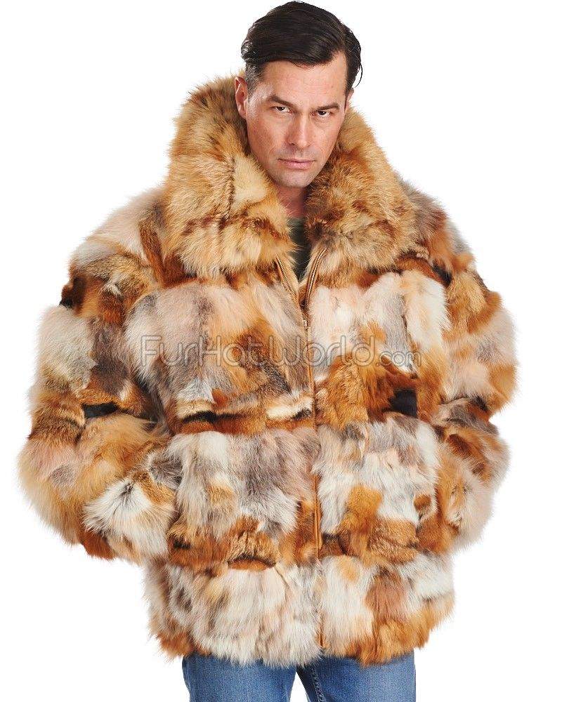 Amari Sectioned Red Fox Fur Bomber Jacket for Men | Fur