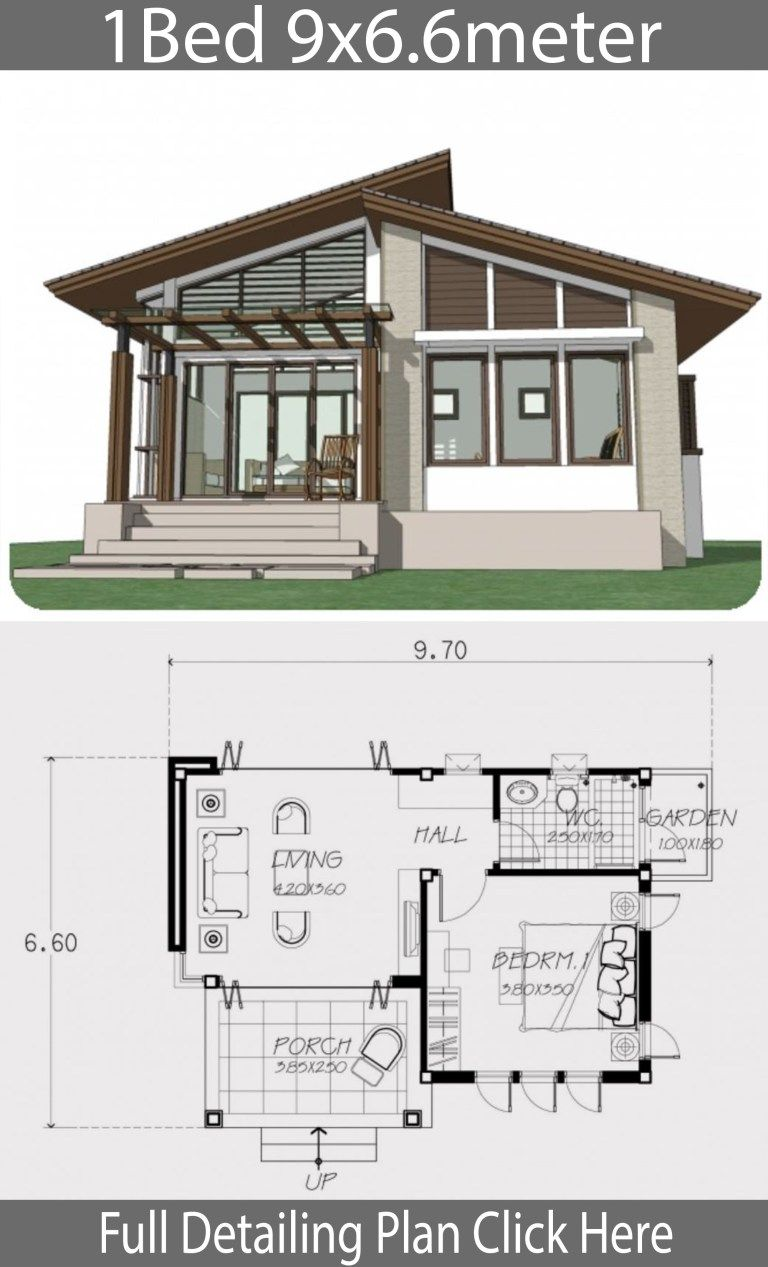 Small Home Design Plan 9x6 6m With One Bedroom Home Ideas One Bedroom House One Bedroom House Plans Small House Design