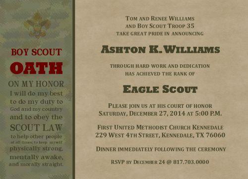NEW Acheivement Eagle Scout Invitation