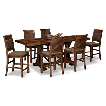 Austin Walnut Dining Room 7 Pc Counter Height Dining Room Value City Furniture 1 399 93 Kitchen Table Settings Walnut Dining Room Vintage Dining Table