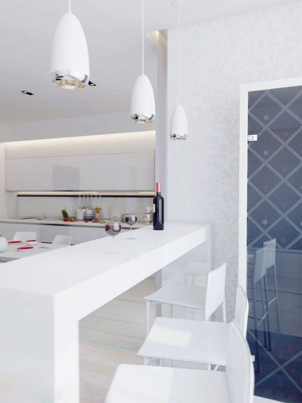 Apartamento blanco - barra de desayuno