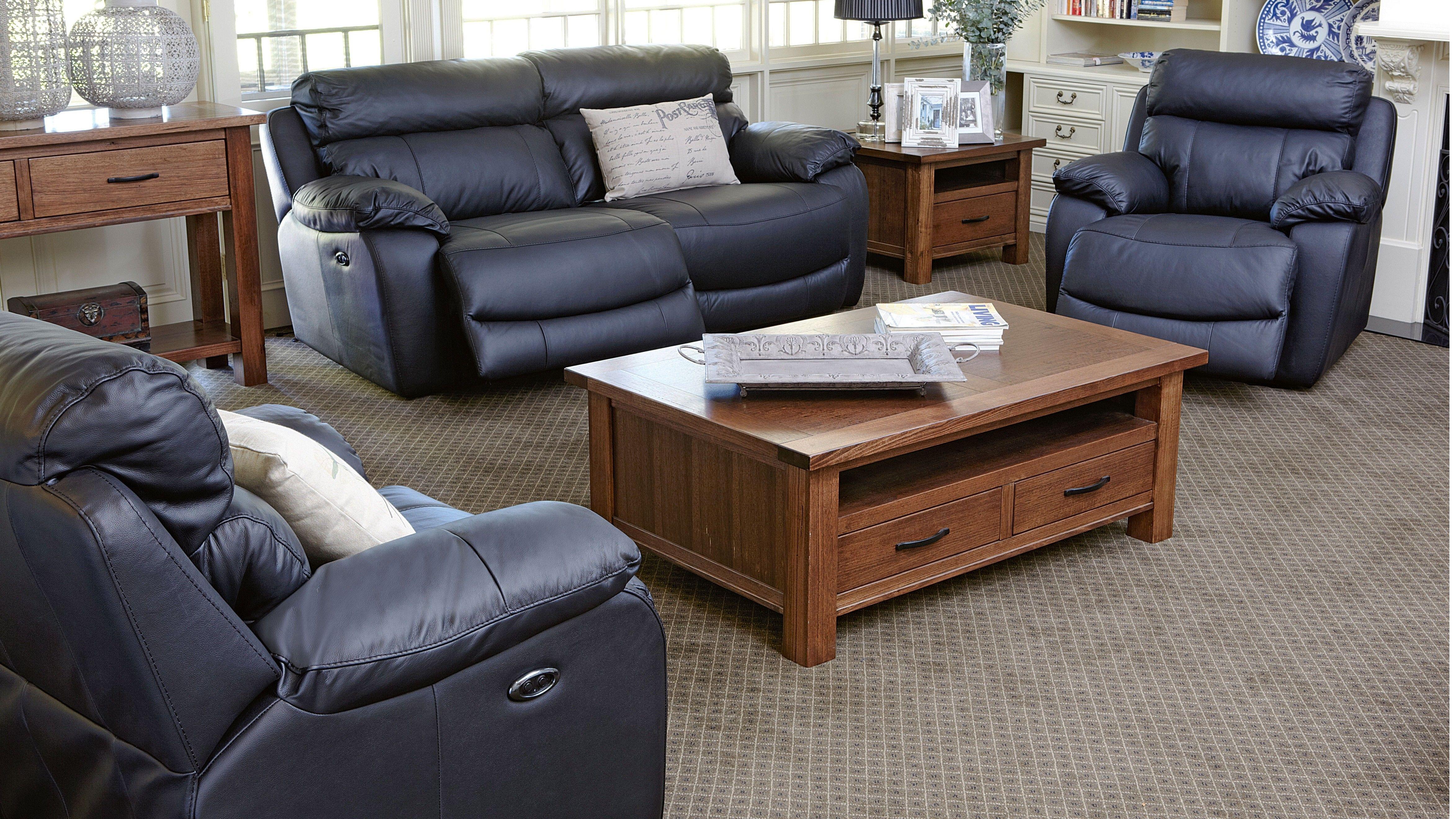 Detroit 3 Piece Leather Lounge Suite Furniture