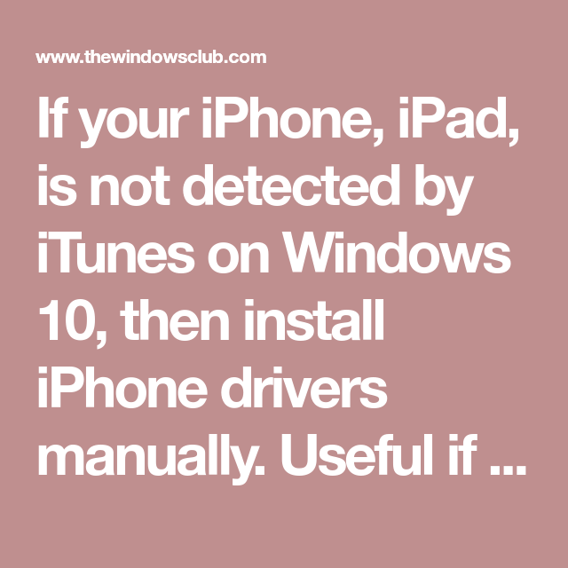 iphone drivers windows 10 without itunes