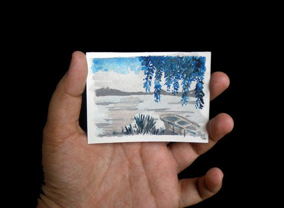 Original ACEO watercolor painting  2.5 x 3.5 inches  by Kalatirth, $12.00
