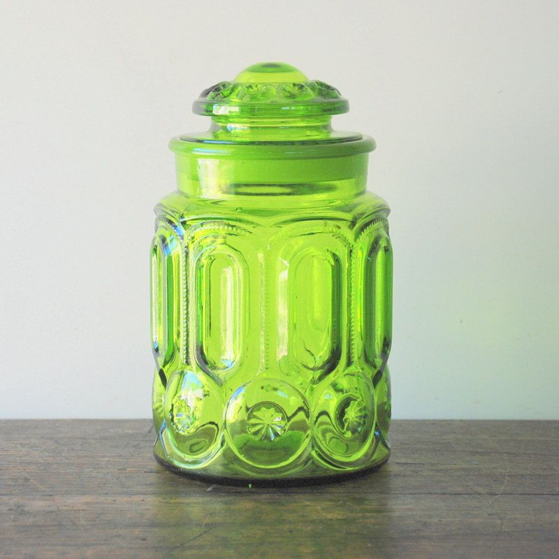Vintage L. E. Smith Moon And Star Green Glass Canister/Cookie Jar. $28.00,  Via