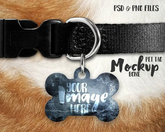 Bone Shaped Pet Tag On A Dog Collar Mockup Template Add Your Etsy Pet Tags Fur Background Mockup Free Psd