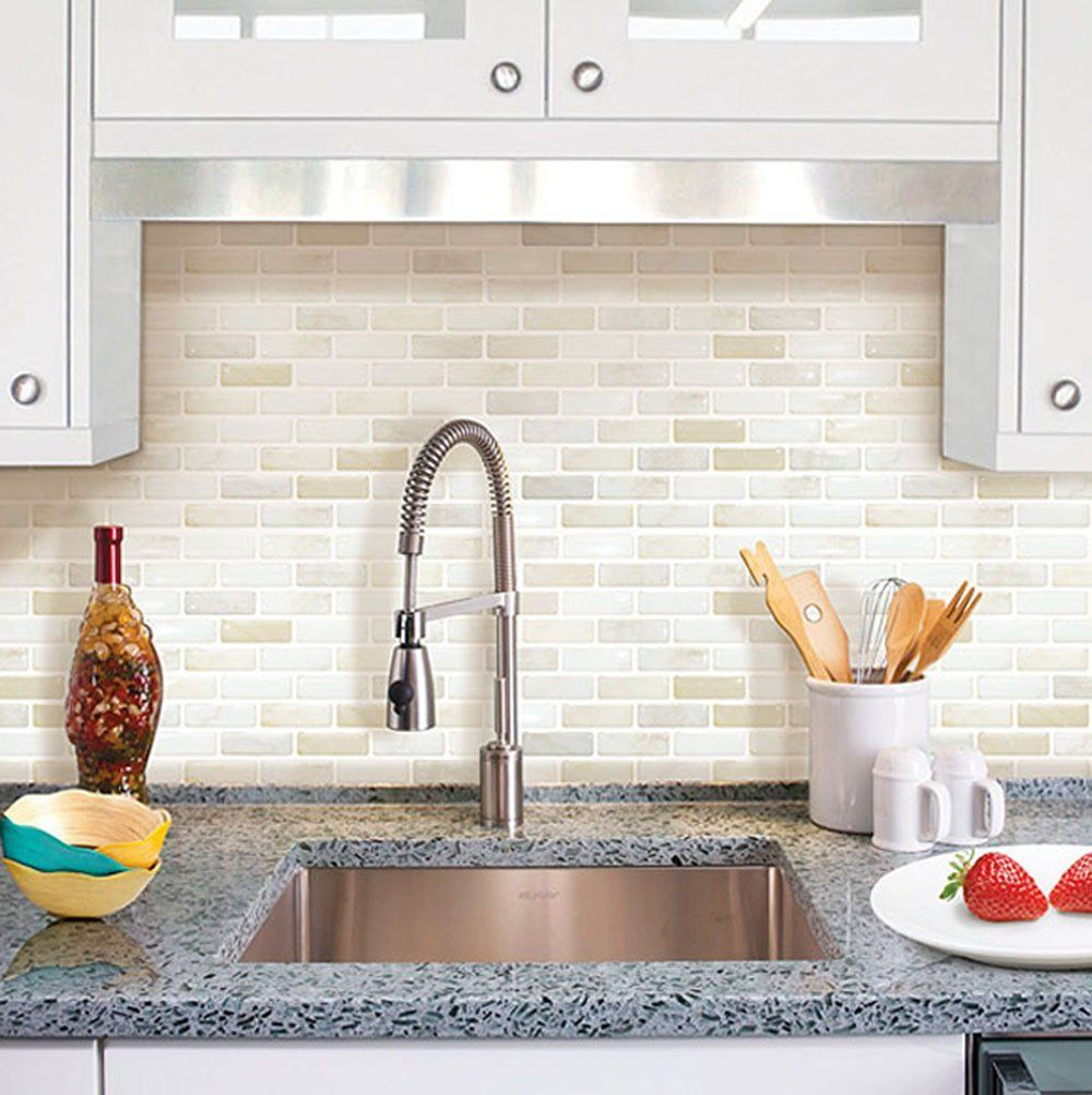 Home Decor Tile Amazon Beaustile White Brick Mosaic 3D Wall Sticker Home