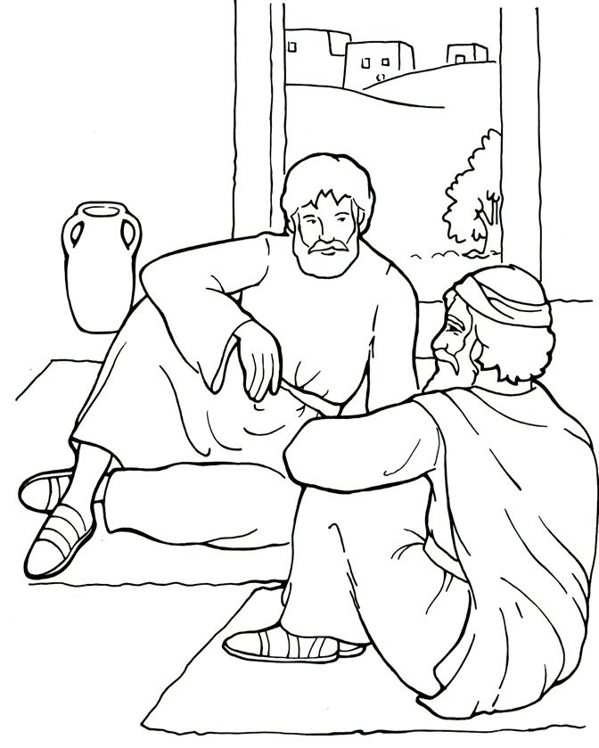 Paul And Ananias Coloring Page Paul Bible Sunday School