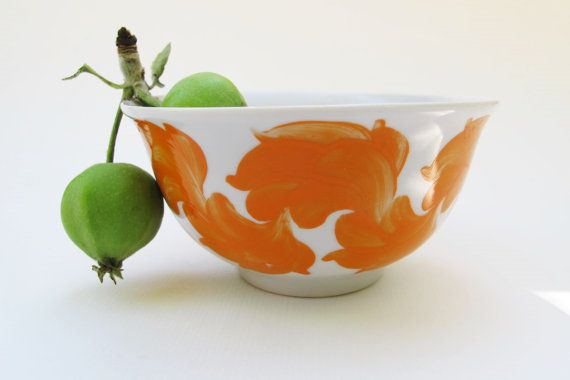 Soviet Vintage porcelain Bowl with Hand Painted by SkySecrets
