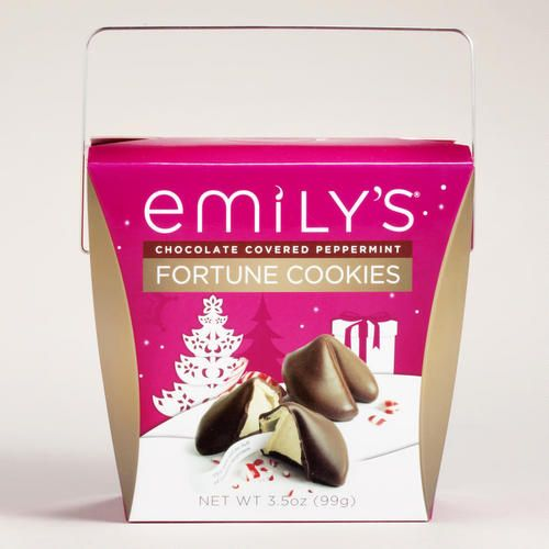 Emily's Dark Chocolate Peppermint Fortune Cookies. I don't care who you are...give this to someone for Christmas. Most unique, delicious present ever!